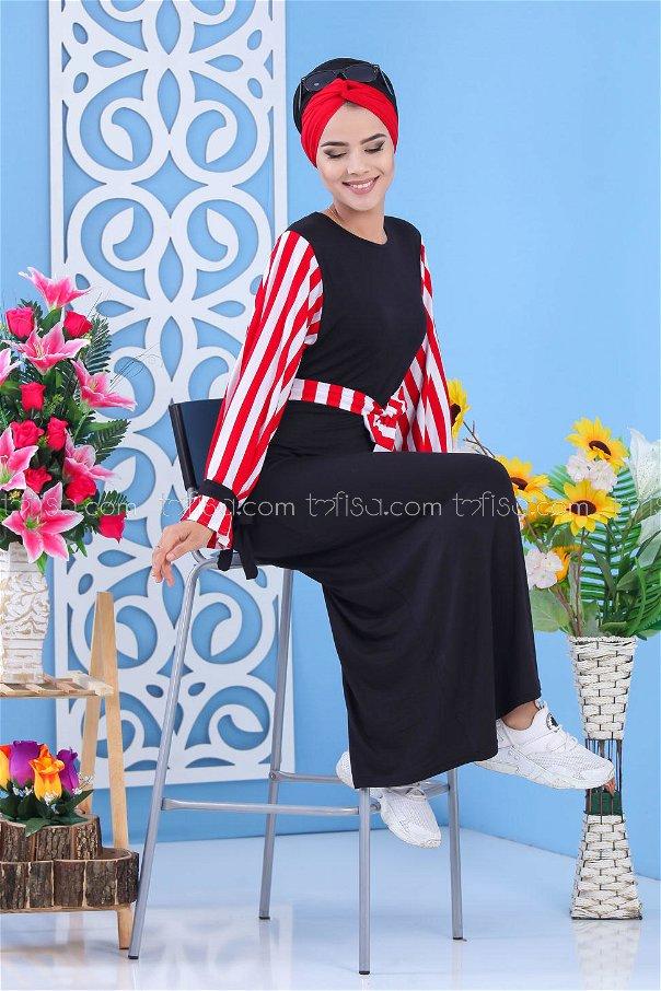 فستان اسود احمر - 03 5140
