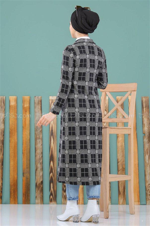 فستان مربعات نقش-1 رصاصي - 8291