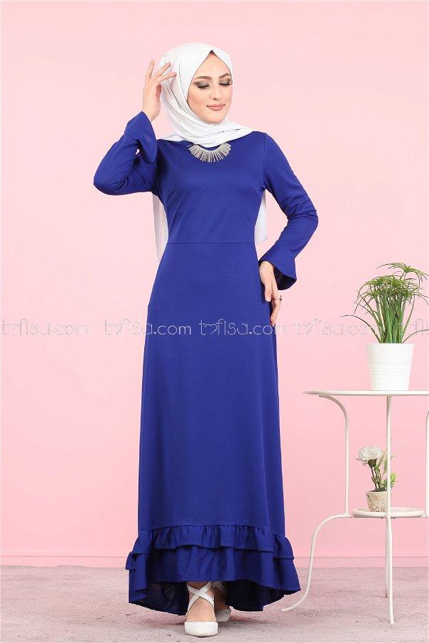 فستان لون ازرق داكن 1363