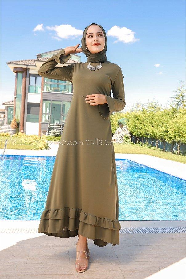 فستان لون زيتي 1363