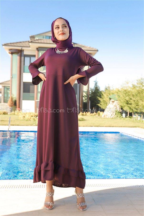 فستان لون موف داكن 1363