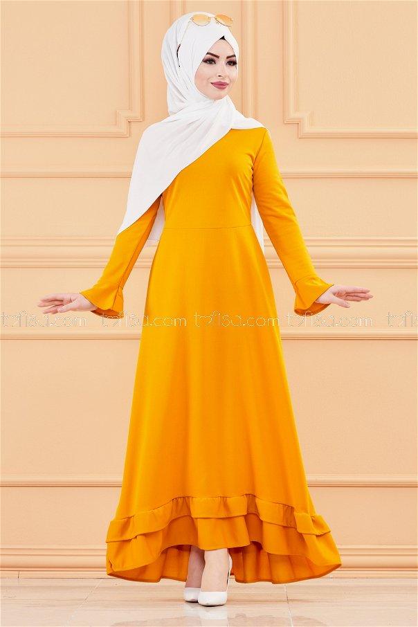 فستان لون خردل 1363