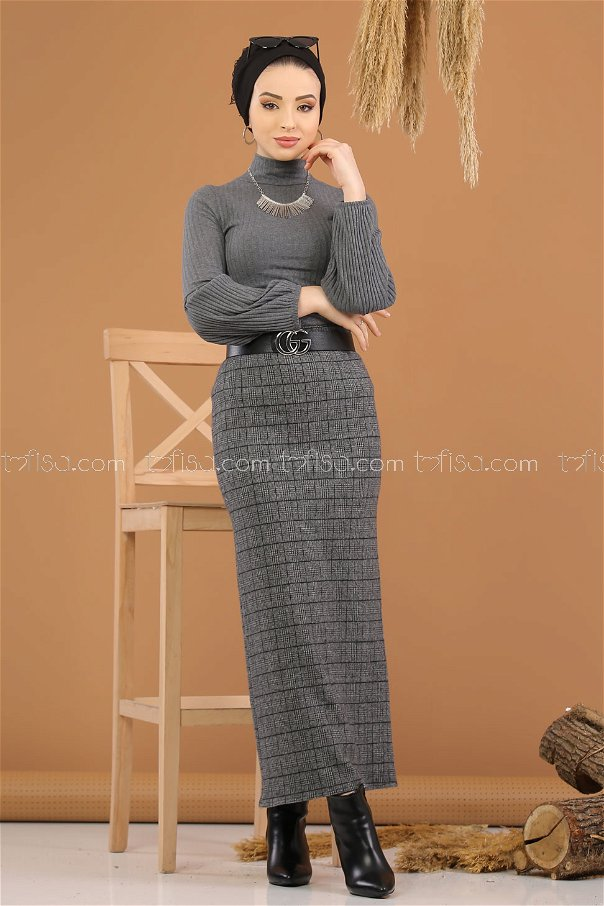 2 pieces Blouse Skirt Combine Anthracite - 8250