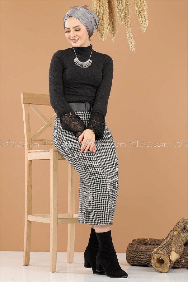 2 pieces Blouse Skirt Combine black - 8289