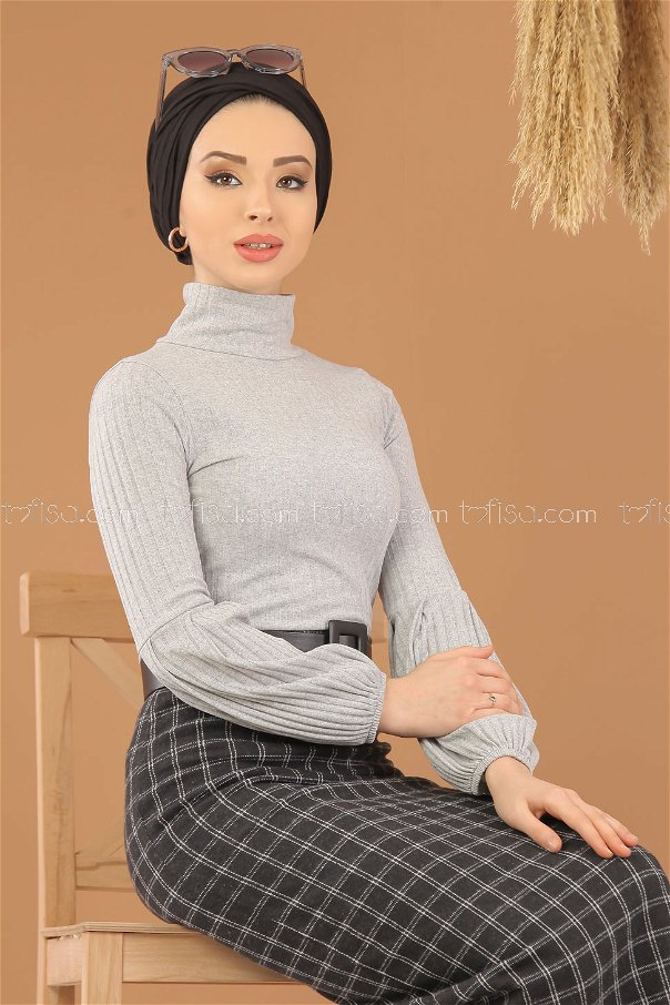 2 pieces Blouse Skirt Combine black gray - 8275