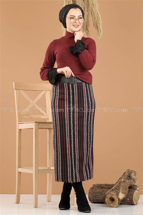 2 pieces Blouse Skirt Combine claret red - 8289