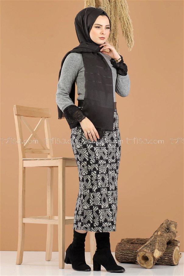 2 pieces Blouse Skirt Combine gray - 8289