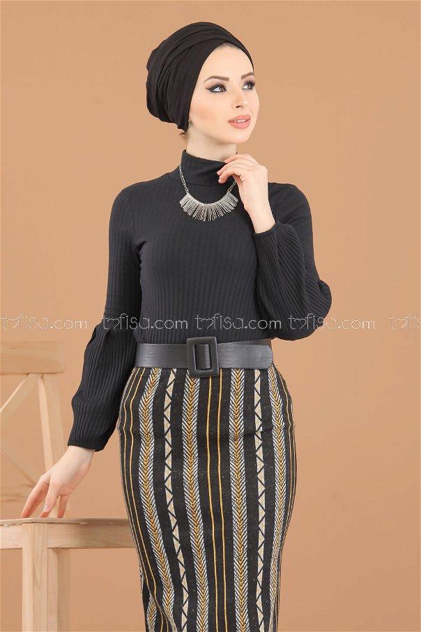 2 pieces Blouse Skirt Combine gray black - 8312