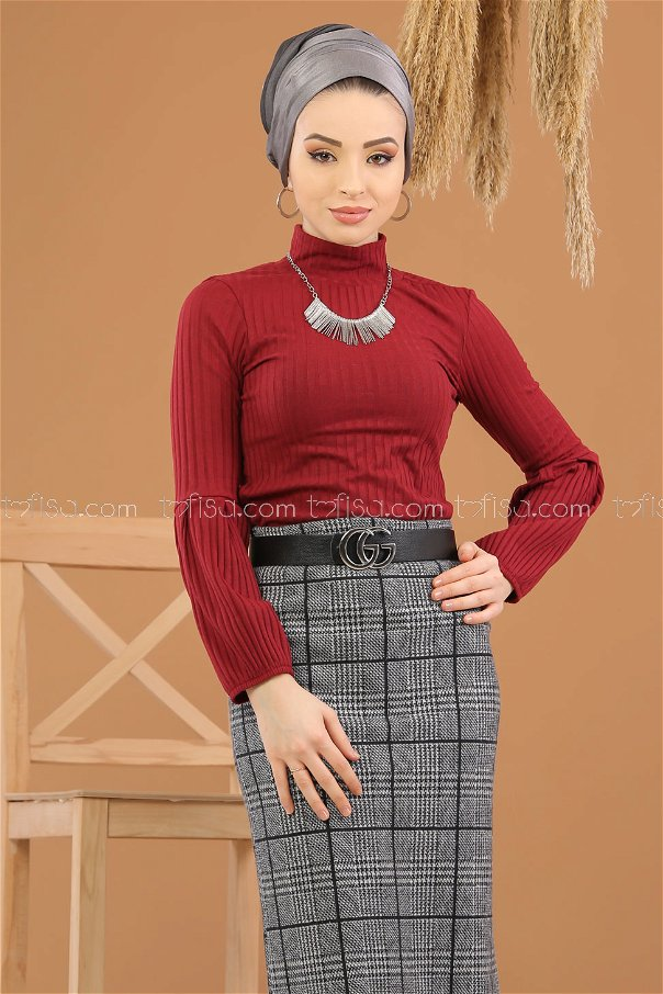 2 pieces Blouse Skirt Combine gray claret red - 8252