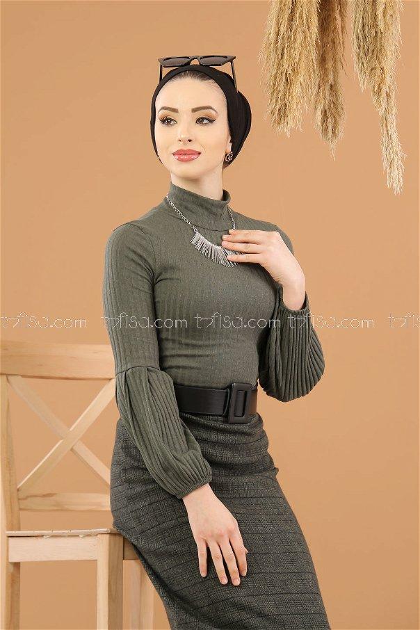 2 pieces Blouse Skirt Combine khaki - 8250