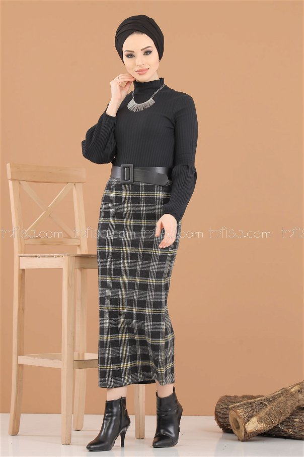 2 pieces Blouse Skirt Combine Mustard black - 8312