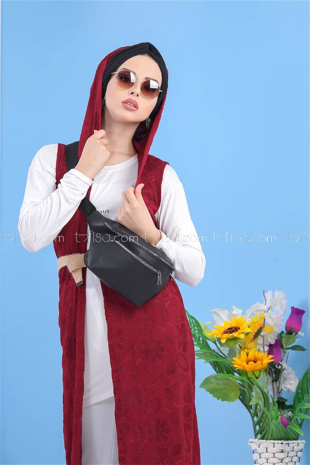 ( 2 pieces ) ** Cardigan and bag claret red black - 02 7486