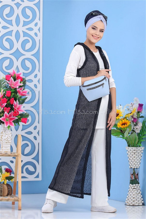 ( 2 pieces ) ** Cardigan and bag navy blue B.Blue - 02 7486
