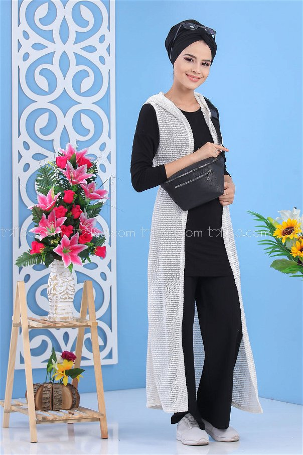 ( 2 pieces ) ** Cardigan and bag white black - 02 7486