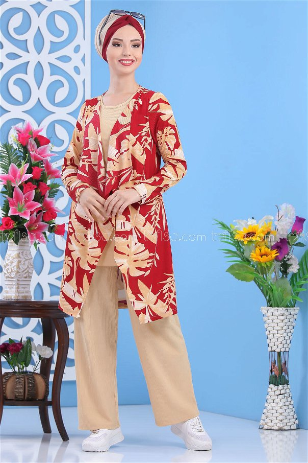 ( 2 pieces ) ** Cardigan and Pants claret red - 03 5150