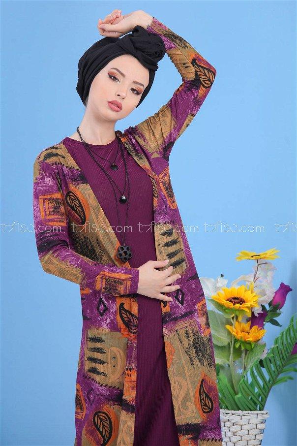 (2 pieces)** Cardigan Gilet purple- 03 5148