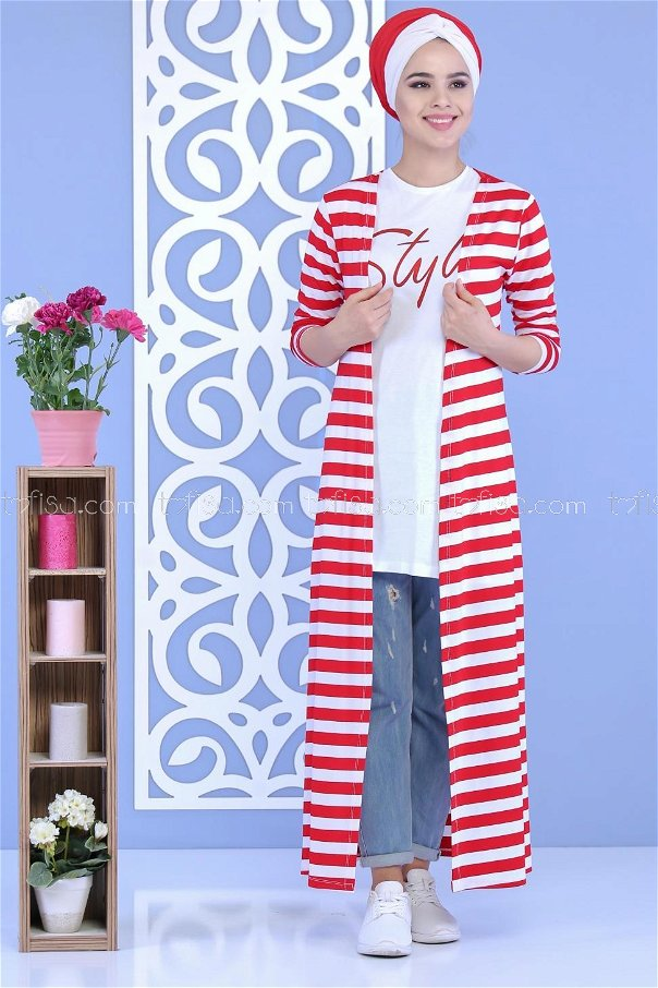 (2 pieces)** Cardigan+Tunic RED - 02 5128