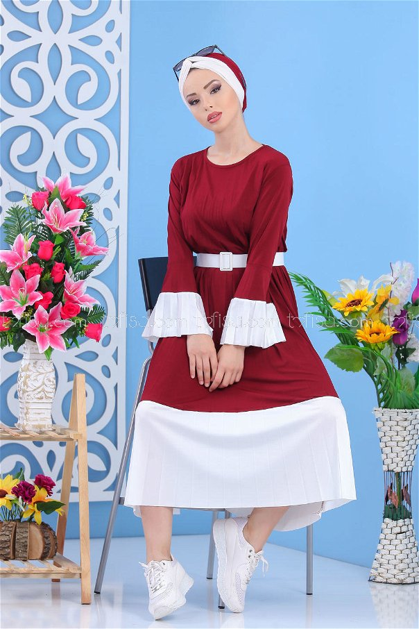 ( 2 pieces ) ** Dress and Belt claret red - 02 7172