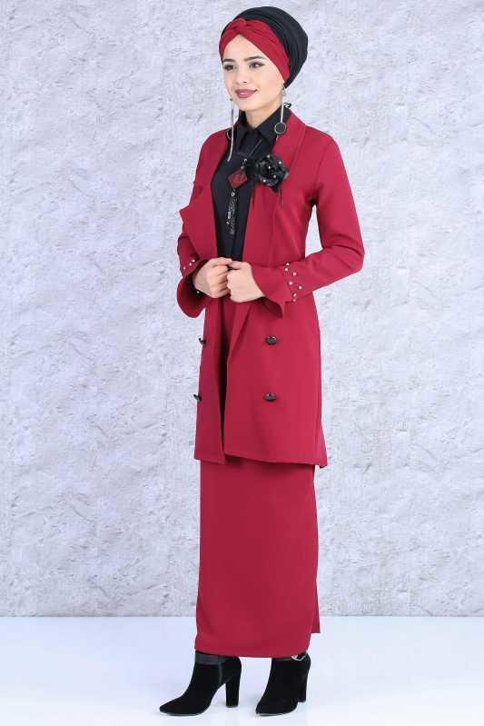 (2 Pieces) Jacket and Skirt Combine - Claret Red 02 0693