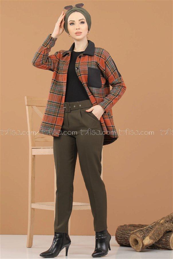 2 pieces pants belt Combine khaki - 8308