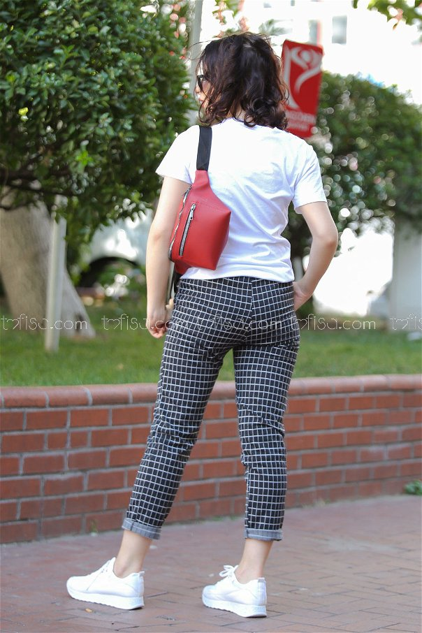 ( 2 pieces ) ** Pants Plaid and bag black red - 02 7473