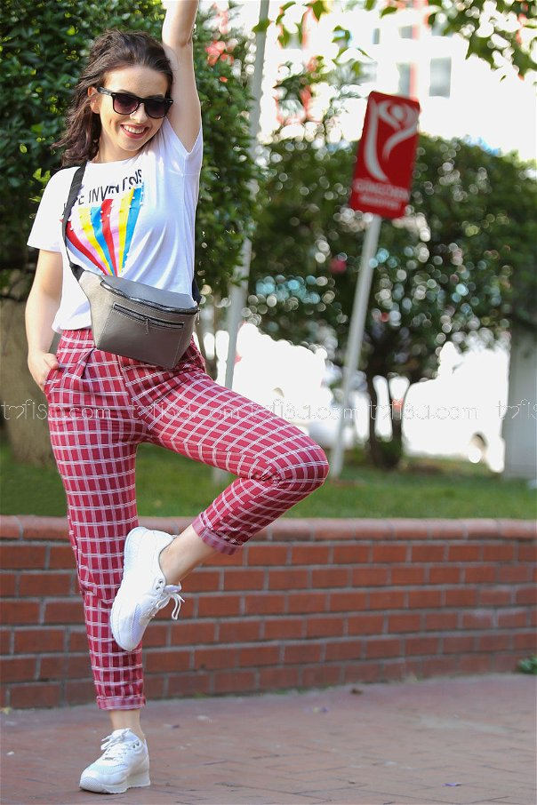 ( 2 pieces ) ** pants Plaid and Bag claret red brouwn - 02 7470