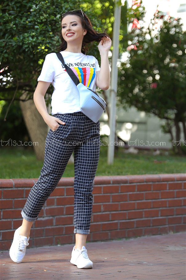 ( 2 pieces ) ** Pants Plaid and bag Navy blue white - 02 7473