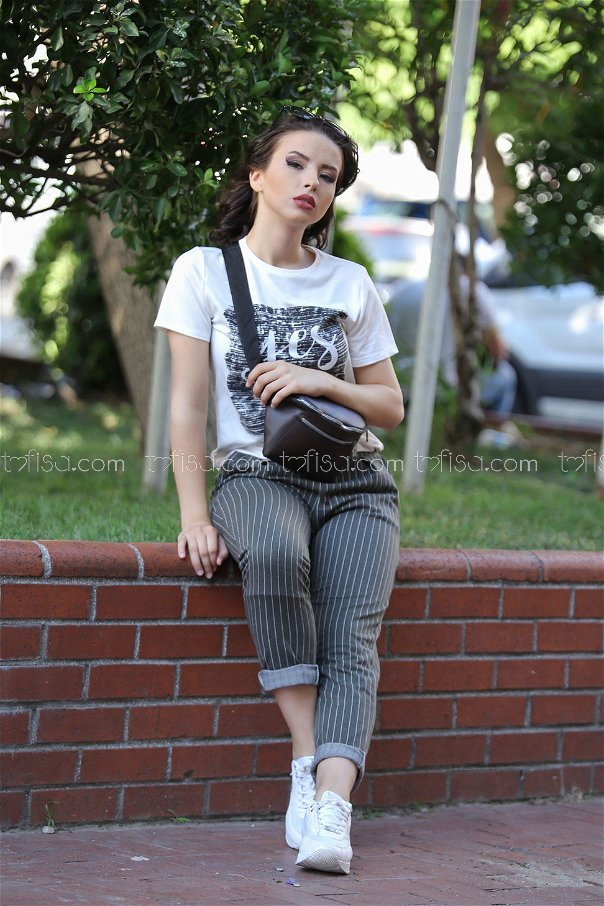 ( 2 pieces ) ** pants Striped and bag gray brouwn - 02 7474