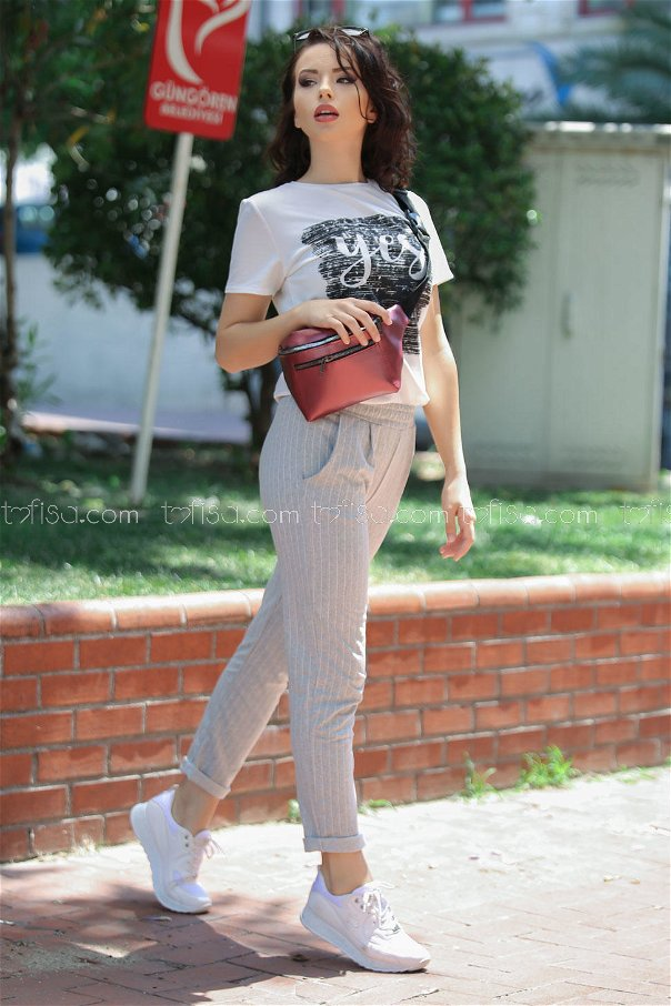 ( 2 pieces ) ** pants Striped and bag gray fuchsia - 02 7474
