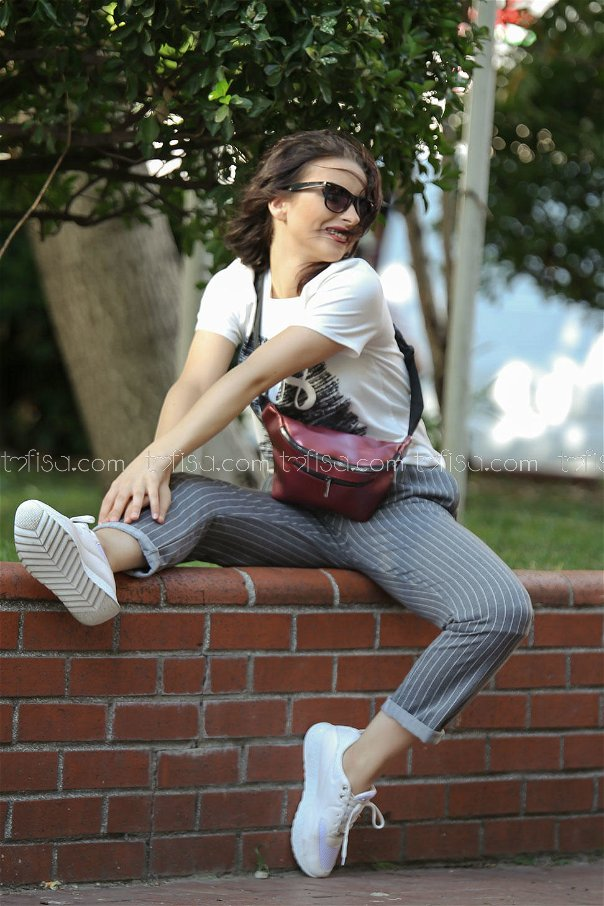 ( 2 pieces ) ** pants Striped and bag khaki claret red - 02 7474