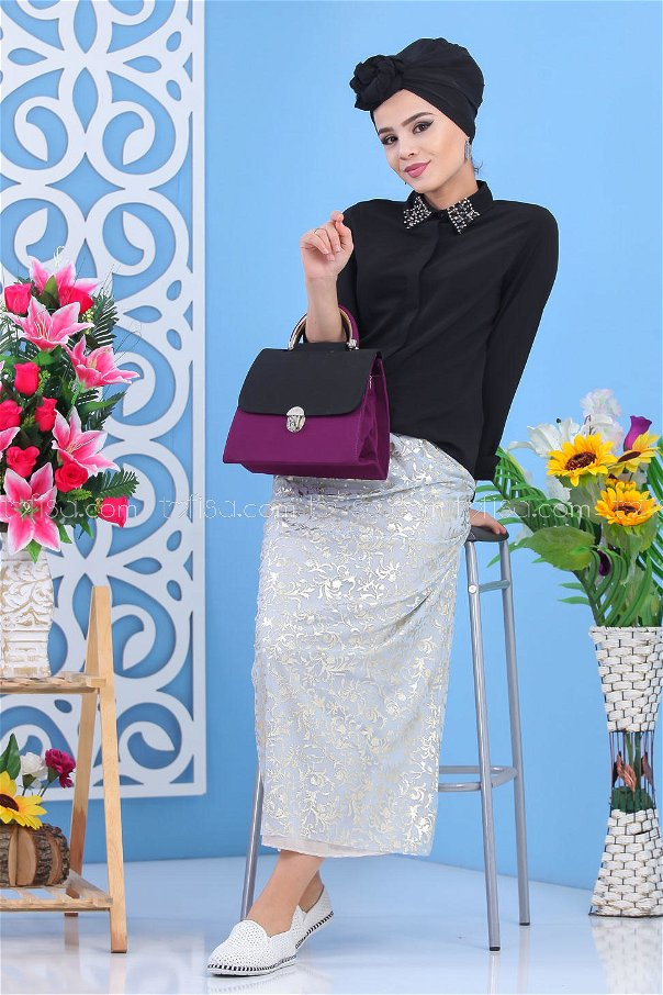 ( 2 pieces ) ** Skirt And bag Combine black - 02 7549