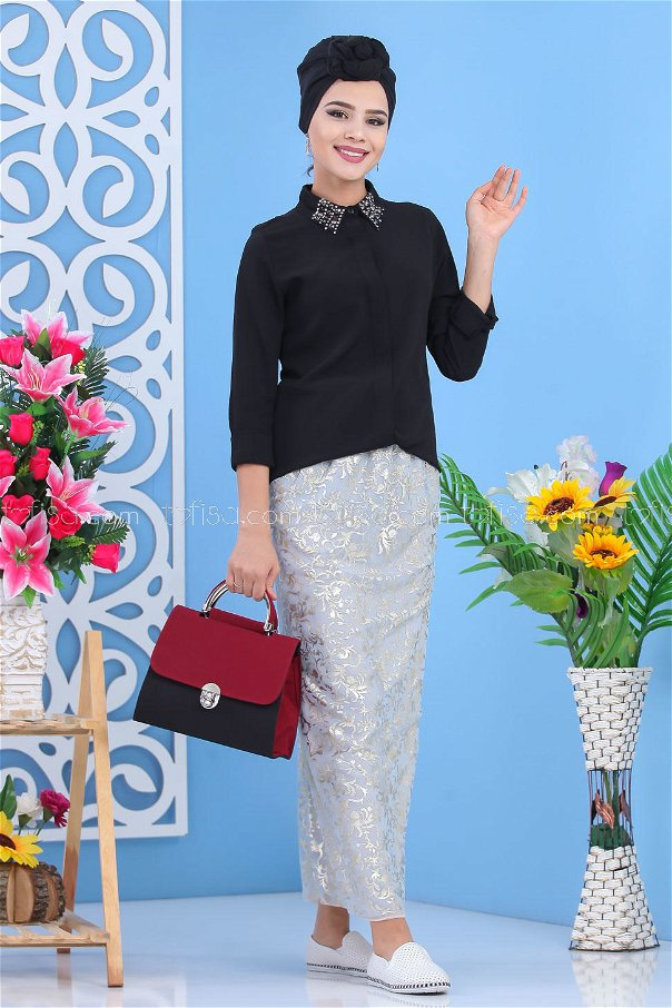 ( 2 pieces ) ** Skirt And bag Combine claret red - 02 7549
