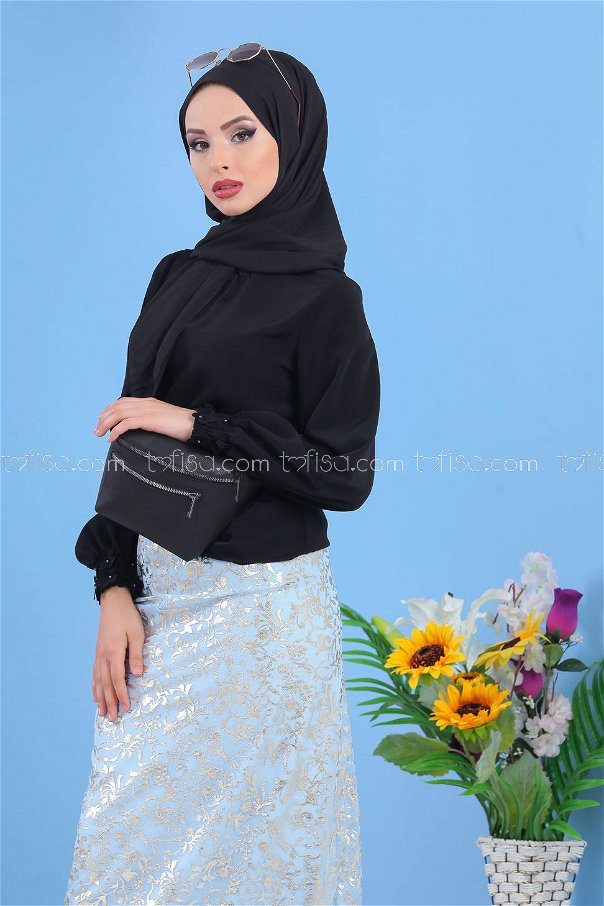 ( 2 pieces ) ** Skirt and bag Combine gray blue black - 02 7462