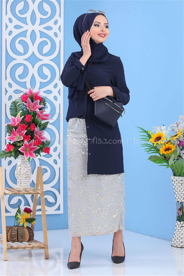 ( 2 pieces ) ** Skirt and bag Combine gray navy blue - 02 7462