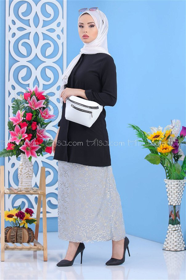 ( 2 pieces ) ** Skirt and bag Combine gray White - 02 7462