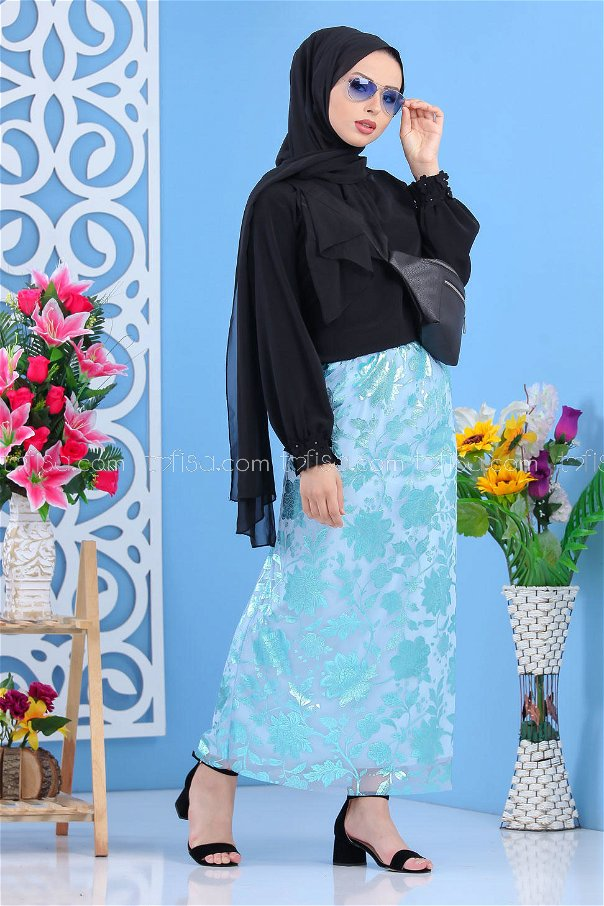 ( 2 pieces ) ** Skirt and bag Combine turquoise black - 02 7462
