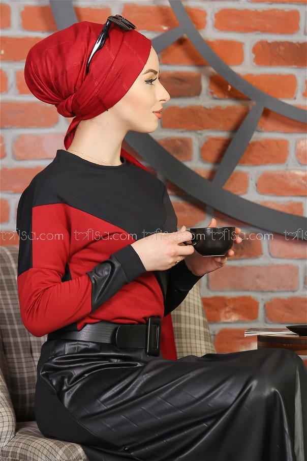 2 pieces Skirt Pleat Blouse black claret red - 1349