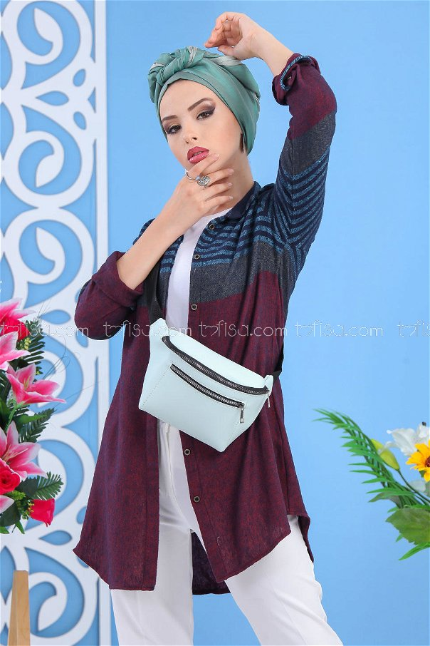 (2 pieces ) ** Tunic and Bag claret red B.Blue - 02 7518