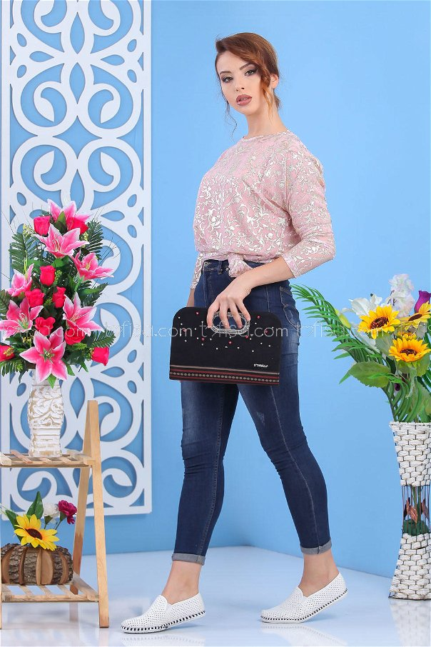 ( 2 pieces ) ** Tunic and bag Combine black 02 7556