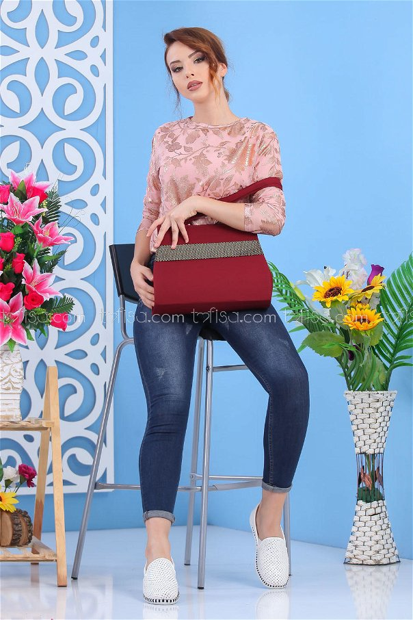 ( 2 pieces ) ** Tunic and bag Combine claret red 02 7550