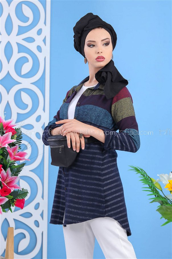 (2 pieces ) ** Tunic and Bag Navy blue black - 02 7519