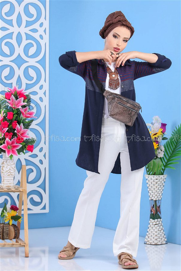 (2 pieces ) ** Tunic and Bag Navy Blue brouwn - 02 7518