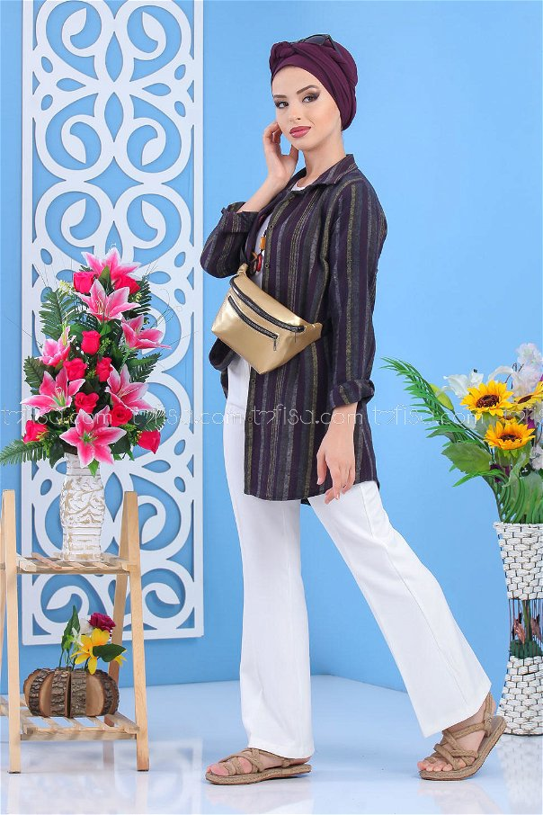 (2 pieces ) ** Tunic and Bag Plum Gold - 02 7516