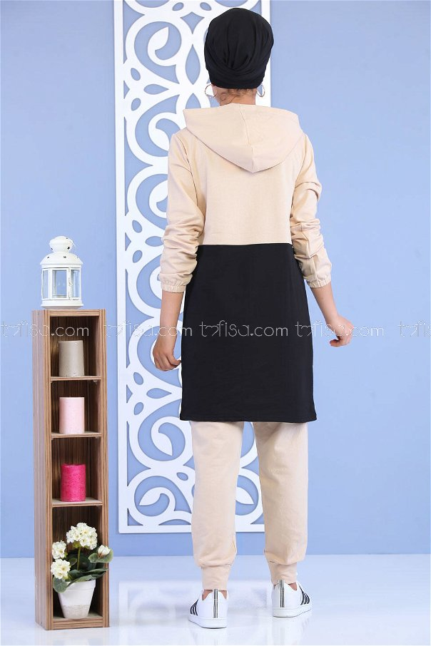 ( 2 Pieces )** Tunic and Pants Black -02 7166