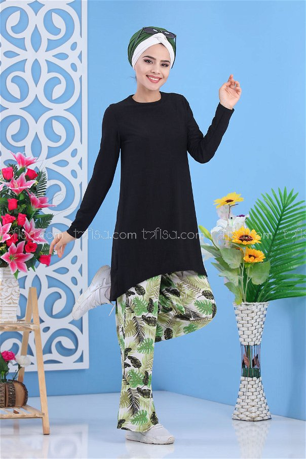 ( 2 pieces ) ** Tunic and pants black - 02 7413