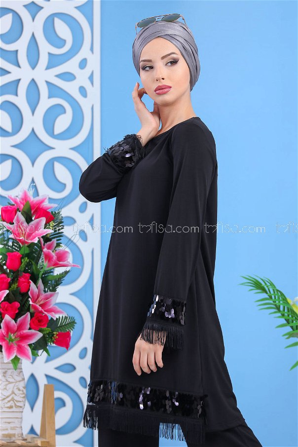 ( 2 pieces ) ** Tunic and pants black - 02 7531