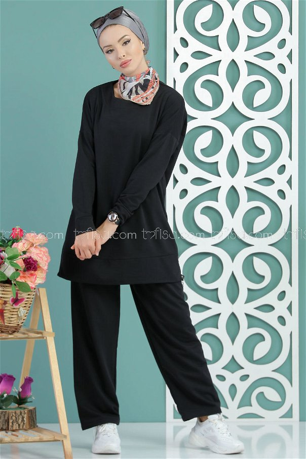 ( 2 pieces ) ** Tunic and pants black - 02 7652