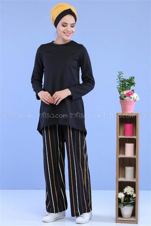 ( 2 Pieces ) ** Tunic and Pants black Mustard 02 7129