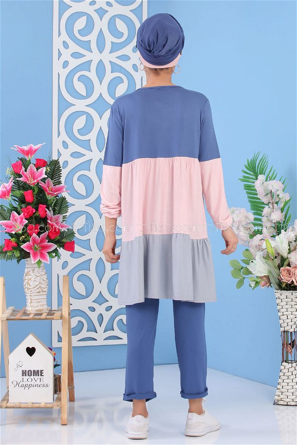 ( 2 Pieces )** Tunic and pants Blue - 02 7245