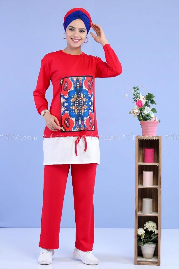 ( 2 pieces ) ** Tunic and pants claret red - 02 7015